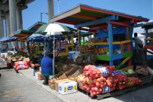 Potter Cay market - Bahamas - yacht and sea