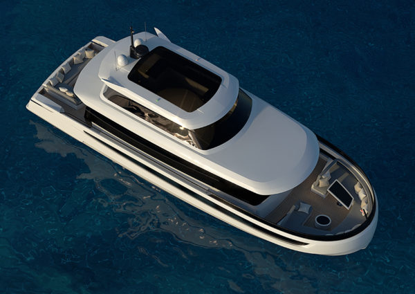 Cetera 60 sky view top - yacht and sea