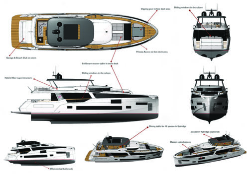 Sirena 88 layout - yacht and sea